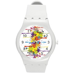 Crazy Multicolored Double Running Splashes Round Plastic Sport Watch (m)
