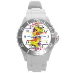 Crazy Multicolored Double Running Splashes Round Plastic Sport Watch (L) Front