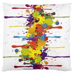 Crazy Multicolored Double Running Splashes Large Cushion Case (one Side) by EDDArt