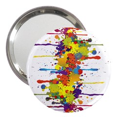 Crazy Multicolored Double Running Splashes 3  Handbag Mirrors by EDDArt
