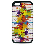 Crazy Multicolored Double Running Splashes Apple iPhone 5 Hardshell Case (PC+Silicone)