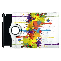 Crazy Multicolored Double Running Splashes Apple Ipad 2 Flip 360 Case