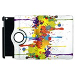 Crazy Multicolored Double Running Splashes Apple iPad 2 Flip 360 Case Front