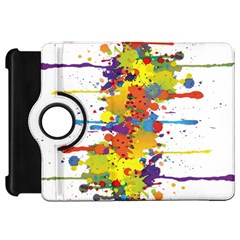 Crazy Multicolored Double Running Splashes Kindle Fire Hd Flip 360 Case by EDDArt