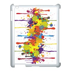 Crazy Multicolored Double Running Splashes Apple Ipad 3/4 Case (white) by EDDArt