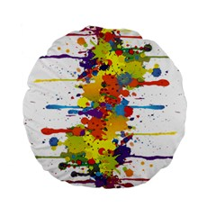 Crazy Multicolored Double Running Splashes Standard 15  Premium Round Cushions