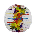 Crazy Multicolored Double Running Splashes Standard 15  Premium Round Cushions Back