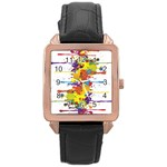 Crazy Multicolored Double Running Splashes Rose Gold Leather Watch  Front