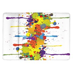 Crazy Multicolored Double Running Splashes Samsung Galaxy Tab 10 1  P7500 Flip Case by EDDArt