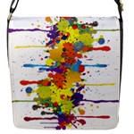 Crazy Multicolored Double Running Splashes Flap Messenger Bag (S)