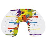 Crazy Multicolored Double Running Splashes Travel Neck Pillows Back