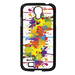 Crazy Multicolored Double Running Splashes Samsung Galaxy S4 I9500/ I9505 Case (black)