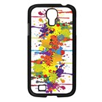 Crazy Multicolored Double Running Splashes Samsung Galaxy S4 I9500/ I9505 Case (Black) Front