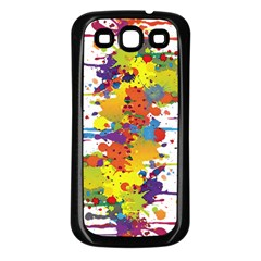 Crazy Multicolored Double Running Splashes Samsung Galaxy S3 Back Case (black) by EDDArt