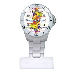 Crazy Multicolored Double Running Splashes Plastic Nurses Watch by EDDArt