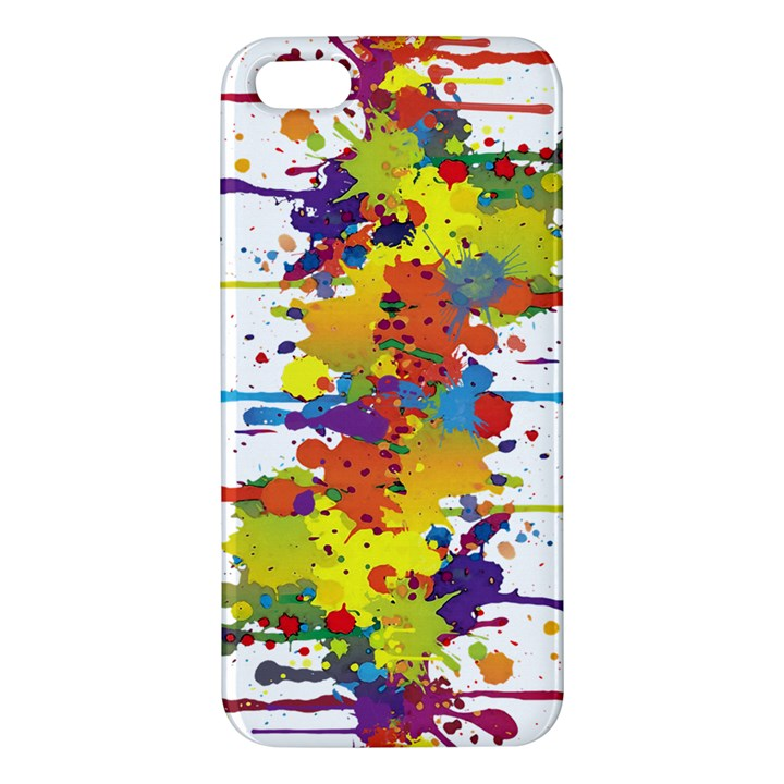 Crazy Multicolored Double Running Splashes iPhone 5S/ SE Premium Hardshell Case