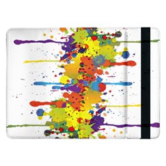 Crazy Multicolored Double Running Splashes Samsung Galaxy Tab Pro 12 2  Flip Case by EDDArt