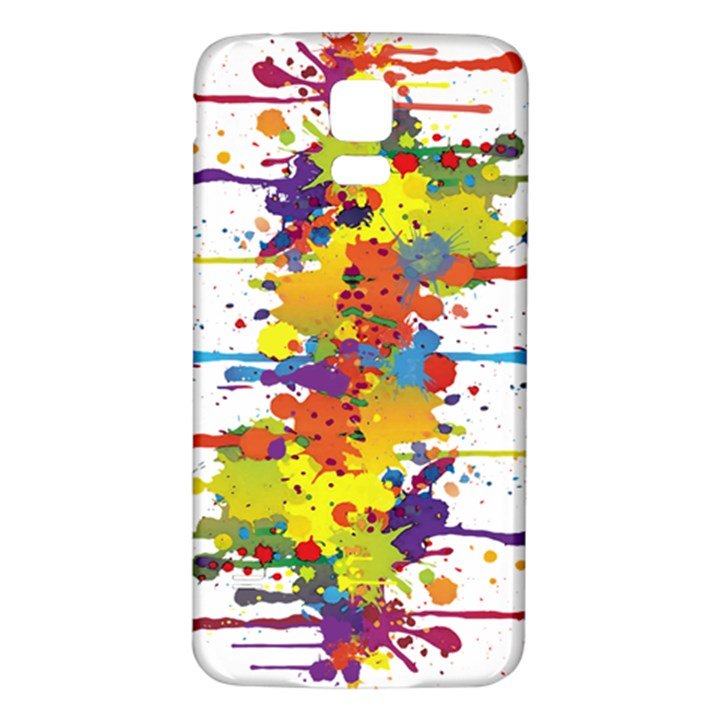 Crazy Multicolored Double Running Splashes Samsung Galaxy S5 Back Case (White)