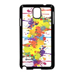 Crazy Multicolored Double Running Splashes Samsung Galaxy Note 3 Neo Hardshell Case (black) by EDDArt