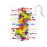 Crazy Multicolored Double Running Splashes Drawstring Pouches (Large)  Front