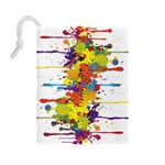 Crazy Multicolored Double Running Splashes Drawstring Pouches (Large)  Back