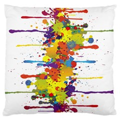 Crazy Multicolored Double Running Splashes Large Flano Cushion Case (one Side) by EDDArt