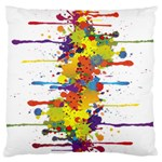 Crazy Multicolored Double Running Splashes Large Flano Cushion Case (Two Sides) Back