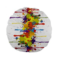 Crazy Multicolored Double Running Splashes Standard 15  Premium Flano Round Cushions by EDDArt