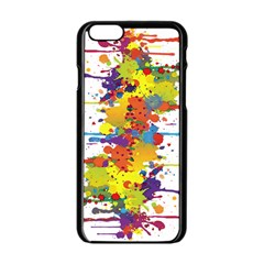 Crazy Multicolored Double Running Splashes Apple Iphone 6/6s Black Enamel Case by EDDArt