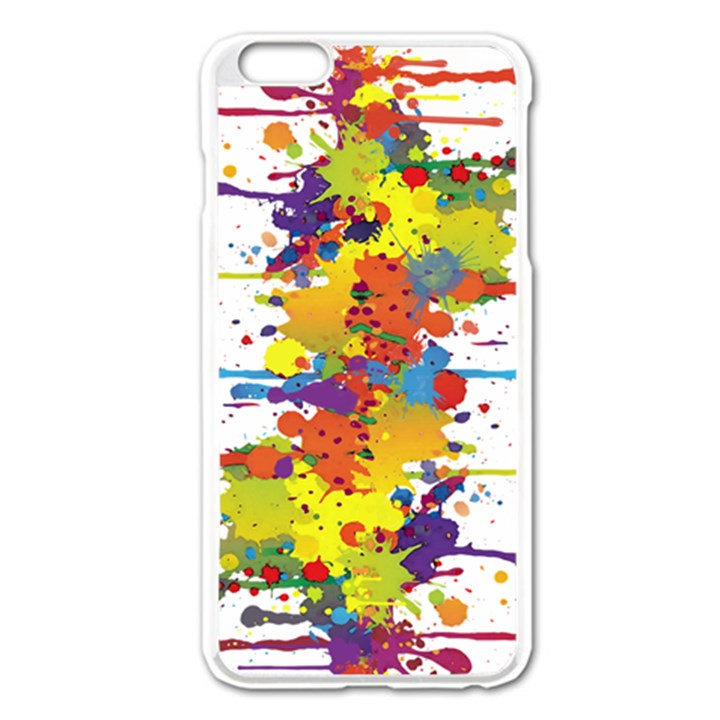 Crazy Multicolored Double Running Splashes Apple iPhone 6 Plus/6S Plus Enamel White Case