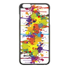 Crazy Multicolored Double Running Splashes Apple Iphone 6 Plus/6s Plus Black Enamel Case by EDDArt