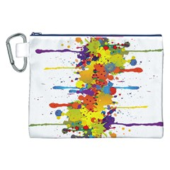 Crazy Multicolored Double Running Splashes Canvas Cosmetic Bag (xxl) by EDDArt