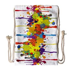 Crazy Multicolored Double Running Splashes Drawstring Bag (large)