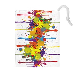 Crazy Multicolored Double Running Splashes Drawstring Pouches (extra Large) by EDDArt