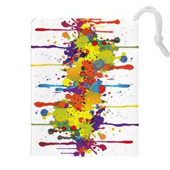 Crazy Multicolored Double Running Splashes Drawstring Pouches (xxl) by EDDArt