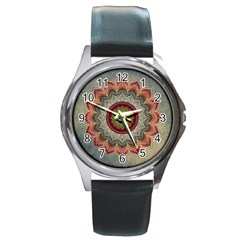 Folk Art Lotus Mandala Dirty Blue Red Round Metal Watch by EDDArt