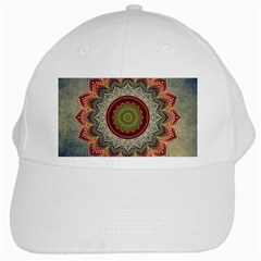 Folk Art Lotus Mandala Dirty Blue Red White Cap