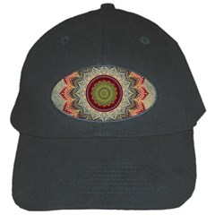 Folk Art Lotus Mandala Dirty Blue Red Black Cap by EDDArt