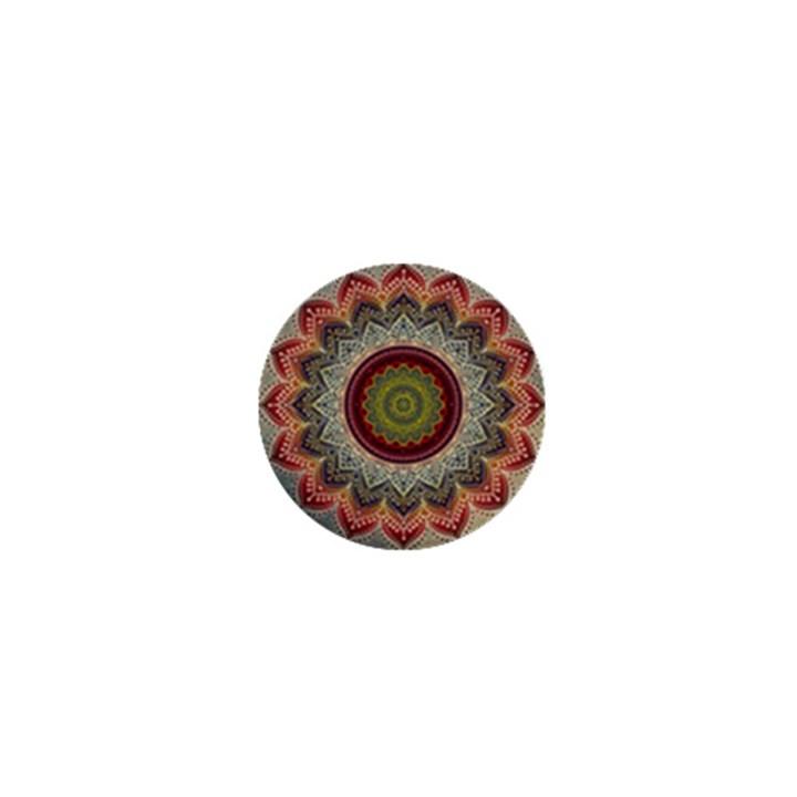 Folk Art Lotus Mandala Dirty Blue Red 1  Mini Buttons