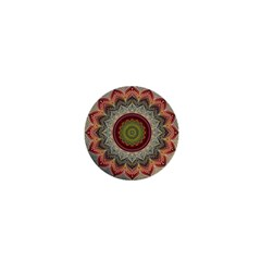 Folk Art Lotus Mandala Dirty Blue Red 1  Mini Magnets