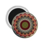Folk Art Lotus Mandala Dirty Blue Red 2.25  Magnets Front