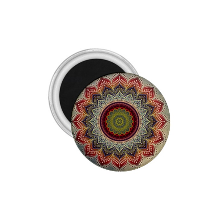 Folk Art Lotus Mandala Dirty Blue Red 1.75  Magnets