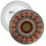 Folk Art Lotus Mandala Dirty Blue Red 3  Buttons Front
