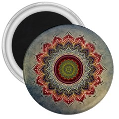 Folk Art Lotus Mandala Dirty Blue Red 3  Magnets