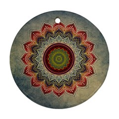 Folk Art Lotus Mandala Dirty Blue Red Ornament (round)