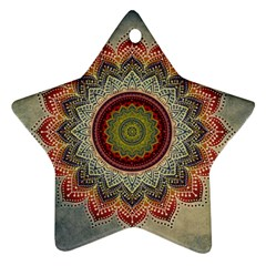 Folk Art Lotus Mandala Dirty Blue Red Ornament (star)  by EDDArt