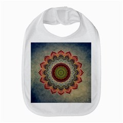 Folk Art Lotus Mandala Dirty Blue Red Bib