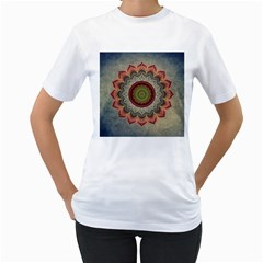 Folk Art Lotus Mandala Dirty Blue Red Women s T Shirt (white) (two Sided)