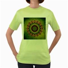 Folk Art Lotus Mandala Dirty Blue Red Women s Green T Shirt