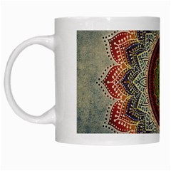 Folk Art Lotus Mandala Dirty Blue Red White Mugs by EDDArt